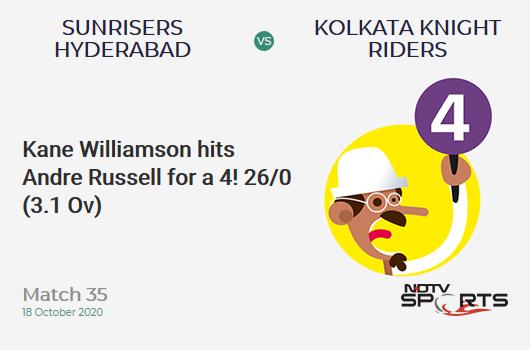 SRH बनाम KKR: मैच 35: केन विलियमसन ने 4 के लिए आंद्रे रसेल को आउट किया!  सनराइजर्स हैदराबाद 26/0 (3.1 ओवर)।  लक्ष्य: 164;  आरआरआर: 8.20