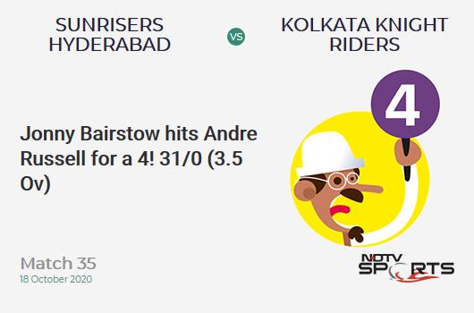 SRH बनाम KKR: मैच 35: जॉनी बेयरस्टो ने आंद्रे रसेल को 4 रन पर आउट किया!  सनराइजर्स हैदराबाद 31/0 (3.5 ओवी)।  लक्ष्य: 164;  आरआरआर: 8.23
