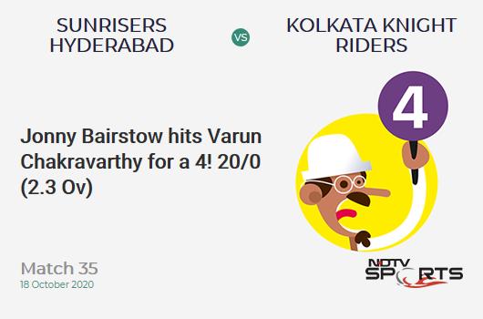 SRH बनाम KKR: मैच 35: जॉनी बेयरस्टो ने 4 के लिए वरुण चक्रवर्ती को मारा!  सनराइजर्स हैदराबाद 20/0 (2.3 ओव)।  लक्ष्य: 164;  आरआरआर: 8.23