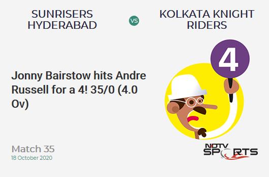 SRH बनाम KKR: मैच 35: जॉनी बेयरस्टो ने आंद्रे रसेल को 4 रन पर आउट किया!  सनराइजर्स हैदराबाद 35/0 (4.0 ओवी)।  लक्ष्य: 164;  आरआरआर: 8.06