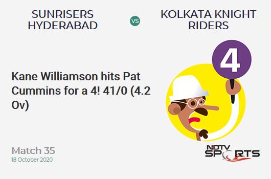 SRH बनाम KKR: मैच 35: केन विलियमसन ने पैट कमिंस को एक चौका लगाया!  सनराइजर्स हैदराबाद 41/0 (4.2 ओव)।  लक्ष्य: 164;  आरआरआर: 7.85